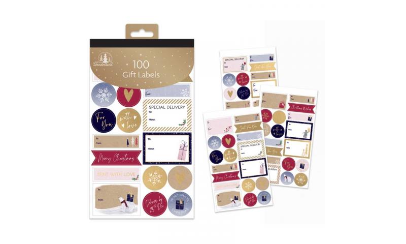 Xmas Cute Gift Labels 100 Label Pack, Hangpack