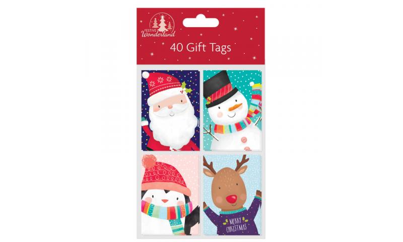 Xmas Cute Folded Gift Tags, Pack of 40, 4 Asstd
