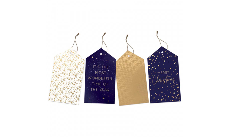 Xmas Traditional Navy & Gold Gift Tags, Pack of 20 Asstd