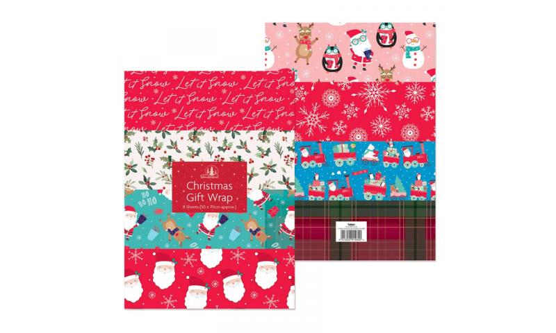 Xmas Folded Gift Wrap - Bargain Pack of 8 Asstd Sheets