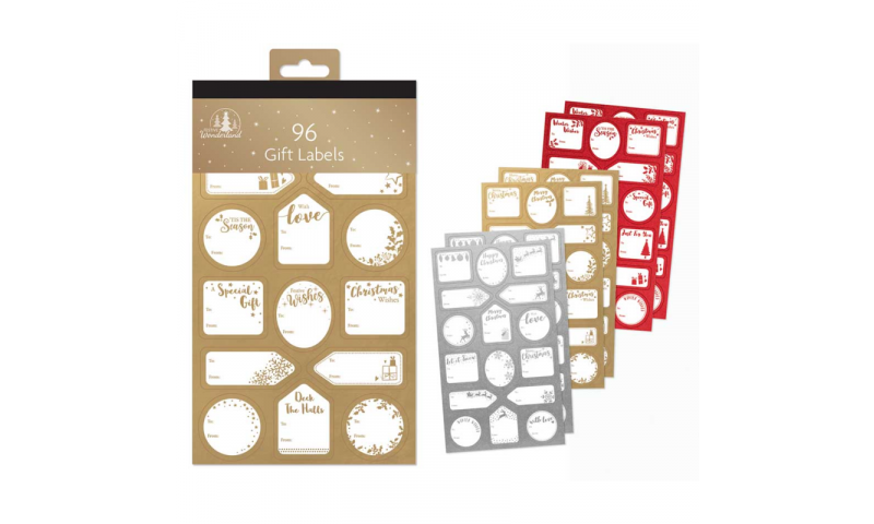 Xmas Traditional Gift Labels, Hangpack of 96 Asstd