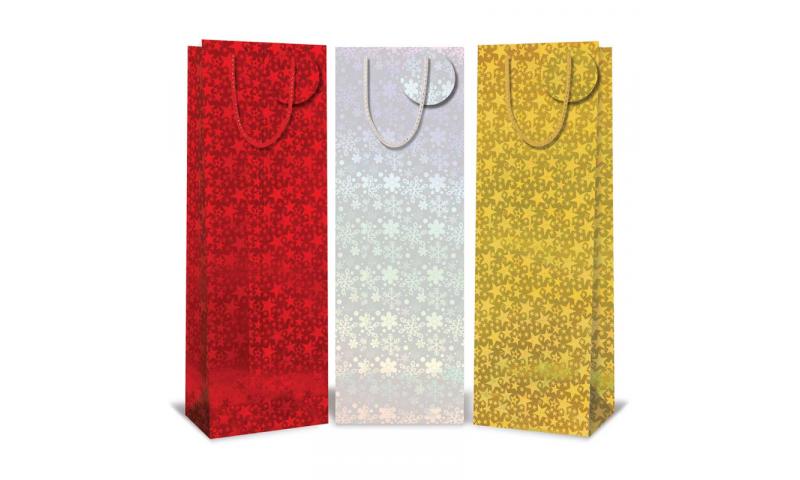 Xmas Holographic Bottle Gift Bag, 3 Asstd Colours