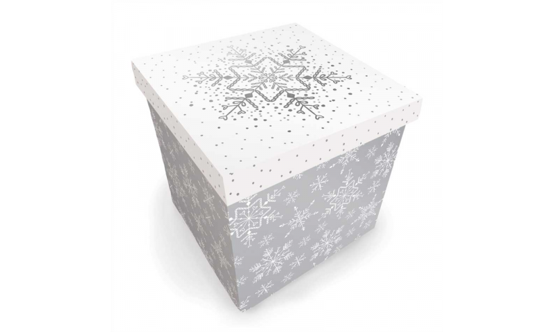 Xmas Medium Square Present Box, Silver & White, Flat Packed.