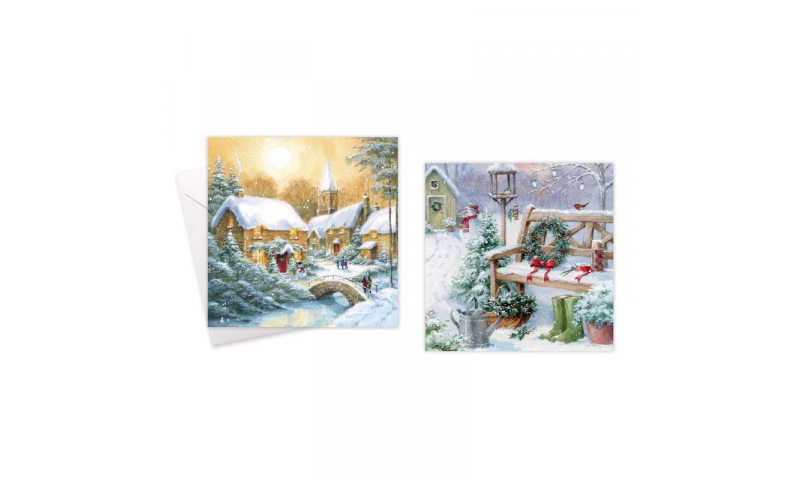 Xmas Gold Boxed Cards, Traditional Scenes, 2 Asstd, Pack of 10