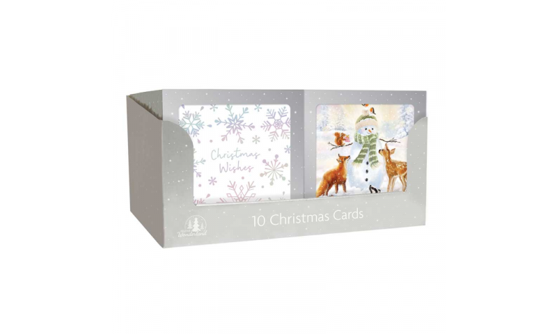 Xmas Silver Boxed Cards, Animals & Snowflakes, 2 Asstd, Pack of 10