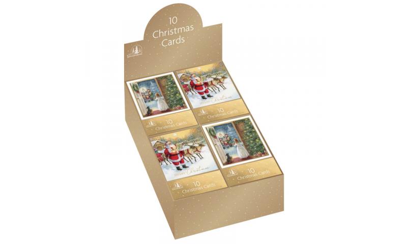 Xmas Traditional Santa & Child Christmas Cards 10 Pack, 2 Asstd