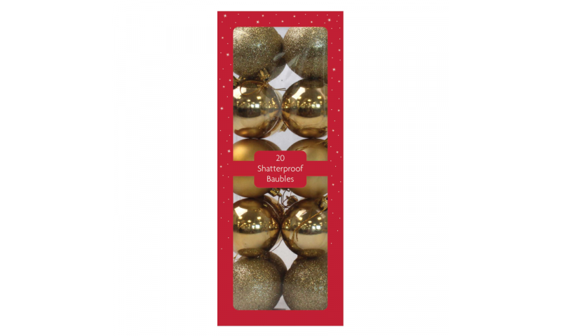 Xmas Red or Gold Jumbo 60mm Shatterproof Baubles, 20 in Gift Pack