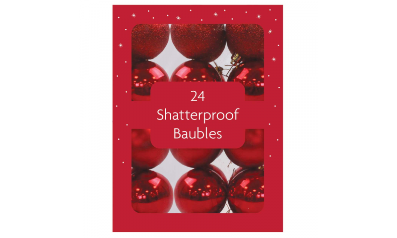 Xmas Red 30mm Shatterproof Baubles 24 in Gift Pack