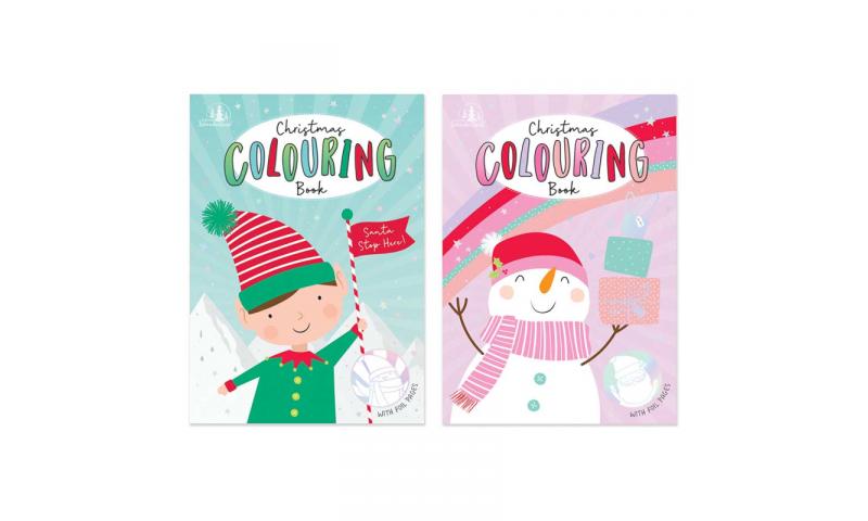 Xmas Theme A4 Colouring Book, Elf & Snowman Designs