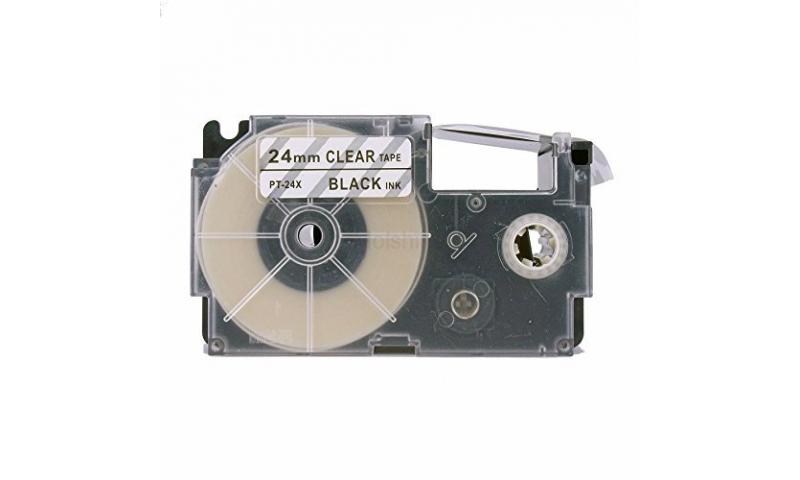 Casio Label Printer tape - 24mm Black on Clear