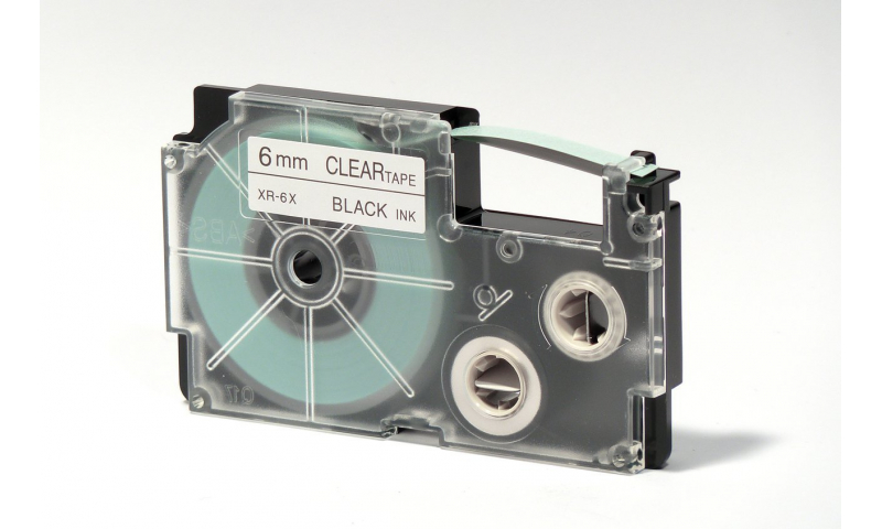 Casio Label Printer tape - 6mm Black on Clear