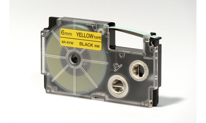 Casio Label Printer tape - 6mm Black on Yellow