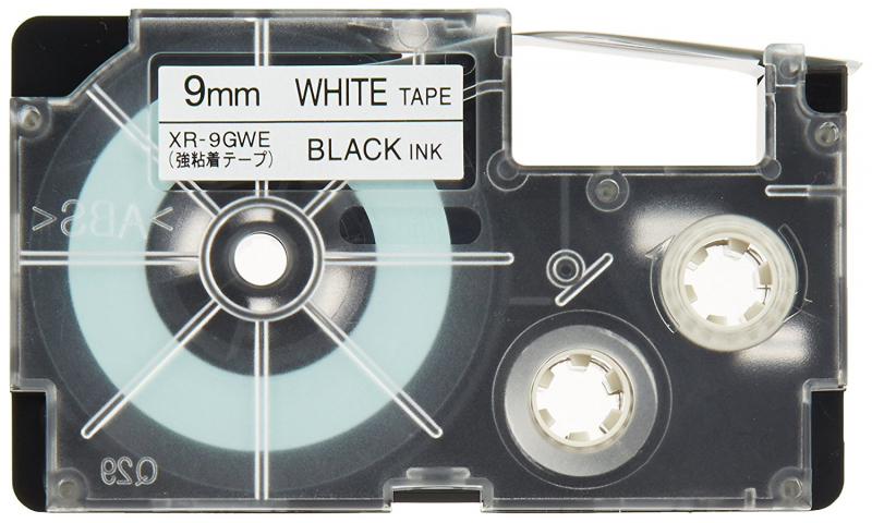 Casio Label Printer tape - 9mm  Black on White (New Lower Price for 2021)