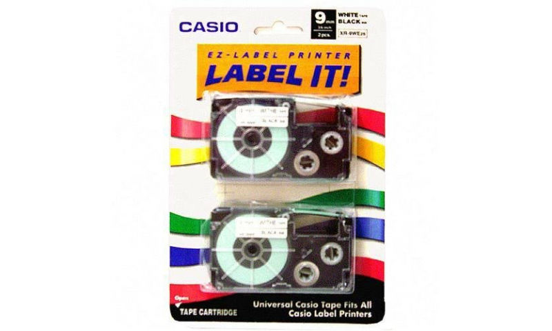Casio Label Printer tape - 9mm 2 pack Black on White (New Lower Price for 2021)