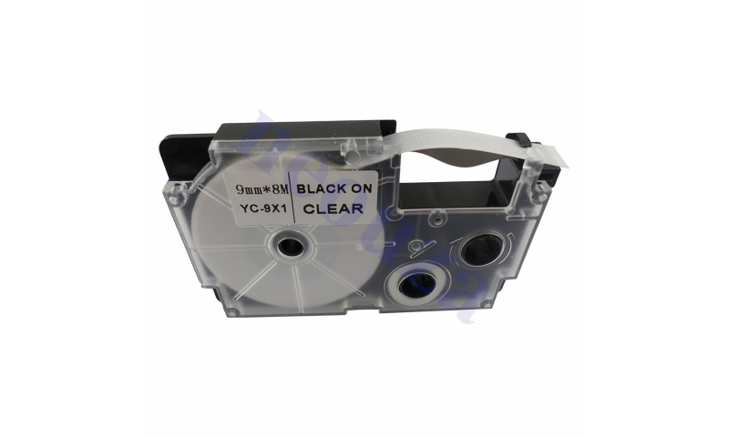 Casio Label Printer tape - 9mm  Black on Clear (New Lower Price for 2021)