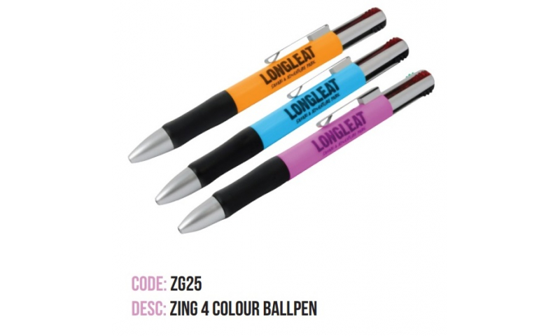 Zing 4 Colour Ballpen, Asstd Barrell Colours, Printed with your Logo